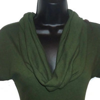Olive Green Cowl Neck Sweater Short Sleeved Steampunk Inspired Top Womens Clothing Extra Large