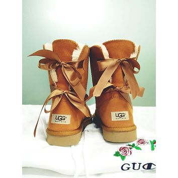 UGG: Fashion For Women Girl bow leather boots boots in tube