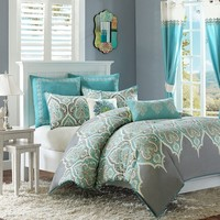 Madison Park Tara 7-pc. Comforter Set - Full/Queen (Grey)