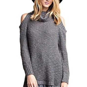 Easel Women's Long Sleeve Cowl Neck Cold Shoulder Sweater Tunic with Chiffon Ruffle Hem