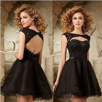 Robe de Soiree Custom Made Black Tulle Beading Appliques Lace A Line Short Cocktail Dresses Vestidos de Cocktail