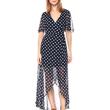 Show Me Your Mumu Women's Marianne Wrap Maxi Dress With Short Sleeves and Polka Dots, Dippin' Dot, Medium