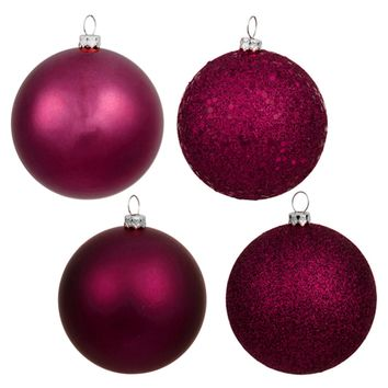 """18ct Red Raspberry 4-Finish Shatterproof Christmas Ball Ornaments 1.25"""" (30mm)"""