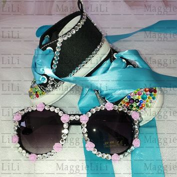 Bling baby's Sets sunglasses Shoes diamond Party Baptism Kids Baby Girls boy Shoes Rhinestone Canvas ribbon First Walker shoes