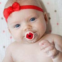 Kissy Face- Hand Painted Custom Pacifier on CLEAR AVENT
