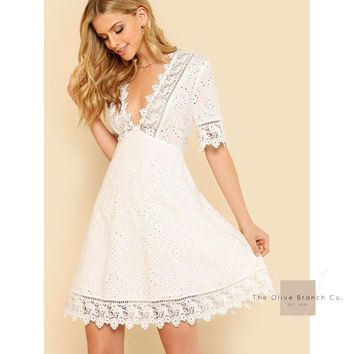 Lace Trim Eyelet Embroidered Dress