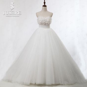 JUSERE Puffy Cute Ball Gown White Wedding Dress with Floral Appliques Designer Plus Size Bridal Gown in Beads