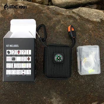 EDC 23 in 1 Survival Kit Hiking/Camping Set paracord,Wire Saw, Card knife, Whistle, Flashlight