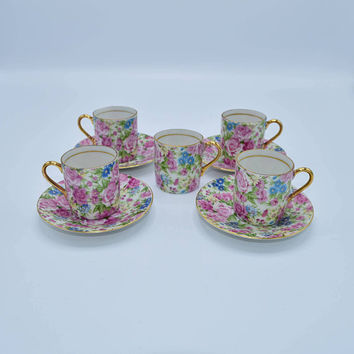 Arnart Royal Chintz Tea Cup & Saucer Set of 4 Vintage 5th Avenue 4 Saucers and 5 Cups Espresso Set French Coffee Cups Demitasse Cup Saucer