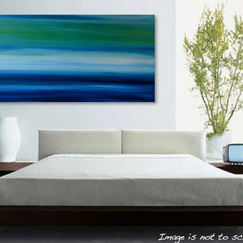 "HUGE 48"" Abstract Landscape Painting- Acrylic Canvas Large Wall Art - Blue, Green, Turquoise, White- MASSIVE 48 x 24: Sombrio- FREE Shipping"