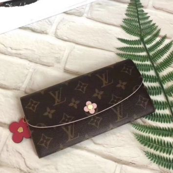 LV Louis Vuitton New Fashion Floral Monogram Women Clutch Bag Leather Coin Purse