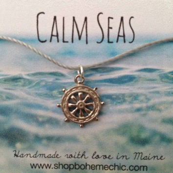 Silver Ships Wheel Charm Necklace