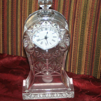 ON SALE Vintage Crystal Clock with Pendulum