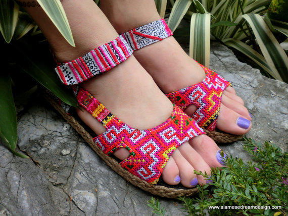 Colorful Espadrille In Hmong Embroidery &  Batik Ankle Strap Open Toe Mary Jane  Flat Vegan Shoe