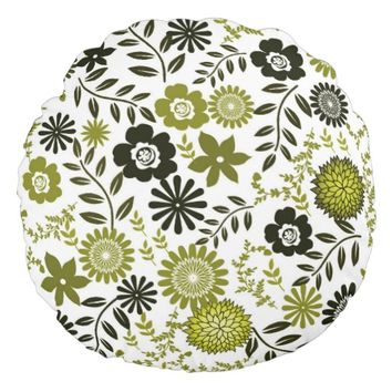 Chartreuse and Dark olive green floral pattern Round Pillow