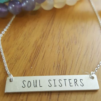 Soul Sisters Message Bar Necklace in Matte Silver