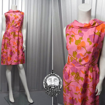 Vintage 60s HORROCKSES Pink Wiggle Dress Silk Blend Open Back Bow Dress Floral Print Pencil Dress Knee Length 1950s 1960s Made in England