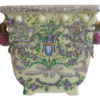 """Pale Yellow Floral Pattern Porcelain Chinoiserie Rectangular Flower Pot 8.5"""""""