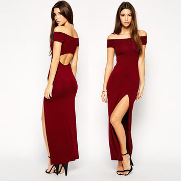 Slit Off Shoulder Hollow Long Dress
