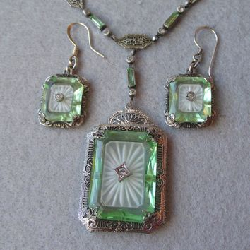 Vintage 1920's Sterling Silver, Green Vaseline & Camphor Glass Diamond Necklace & Earrings Set