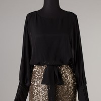 """Vegas"" Sequin Long Sleeve Party Dress in Black"