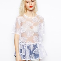 ASOS Top with Burn Out Florals