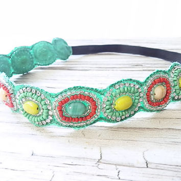 FLASH SALE: Boho Seed beaded Jewel headband non slip headband Mint sea green Circle stone beaded headband with stretchy back for women