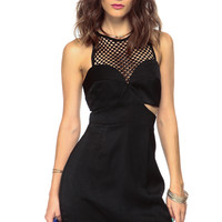 Black Net Cut Out Shift Dress