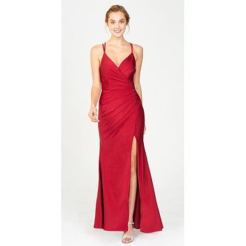 Burgundy Fit and Flare Evening Gown with Slit