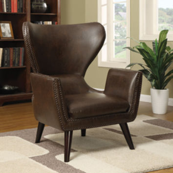Shop Coaster Fine Furniture Casual Brown Faux Leather Wingback Chair at Lowes.com