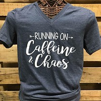 Southern Chics Apparel Running on Caffeine & Chaos Arrow  Canvas Girlie V-Neck Bright T Shirt