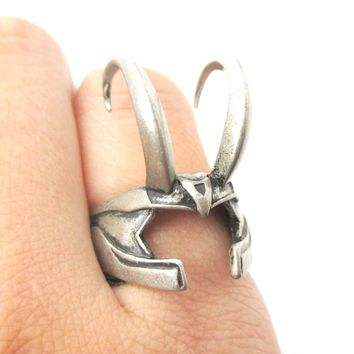 3D Realistic Loki Helmet Shaped Adjustable Ring in Silver | Avengers Themed Jewelry