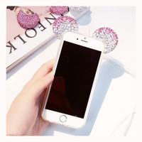 3D Crystal Diamond Mouse Ears TPU Protect Case for iPhone