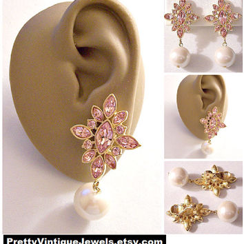 Monet Pink Crystal Star Pearl Clip On Earrings Gold Tone Vintage Large White 12mm Bead Dangles Comfort Paddles Brushed Backs