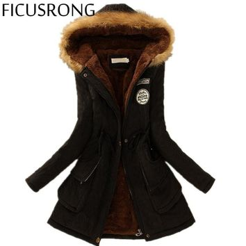 FICUSRONG 2017 Winter Womens Parka Casual Outwear Military Hooded Coat Winter Jacket Women Fur Coats Women's Winter Coats