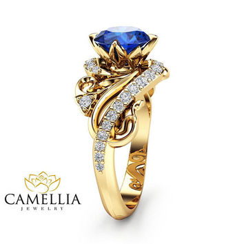 Art Nouveau Sapphire Engagement Ring 14K Yellow Gold Ring Blue Sapphire Engagement Ring