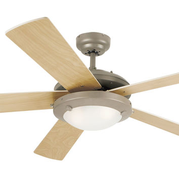 Comet One-Light 52 In. Five-Blade Ceiling Fan, Brushed Pewter With An Opal Globe