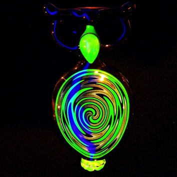 Black Light Reactive Double Bowl Owl Glass Pipe
