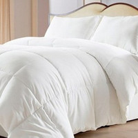 Overfilled & Oversized-Reversible Solid & Striped-Down Alternative Comforter with Corner Tabs