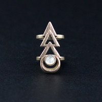 Rune midi ring - A midi ring with a magical rune focusing on a Rainbow Moonstone gemstone.