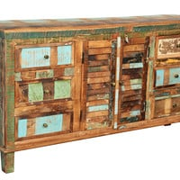 Reclaimed Indian Colorful Sideboard 6 Drawer 2 Shutter Door Vintage Handmade Distressed Paint Wood - Reclaimed Furniture - Furniture