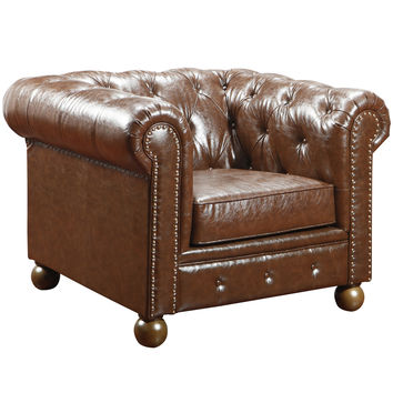 Winston Vintage Mocha Bonded Leather Sofa Chair
