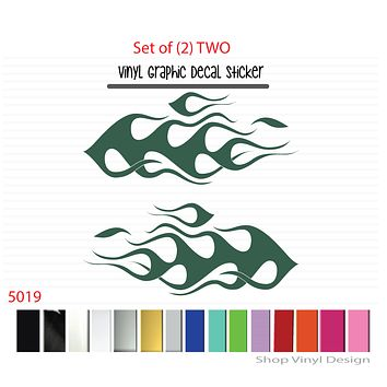 Flames Vinyl Graphic Decal Sticker  - STYLE F5019 - Set of (2)