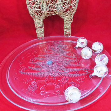 "Christmas Glass Serving Platter, 13"" Wide, Duralex Clear Tempered Glass with Raised Christmas Tree and Toys, Made in France"