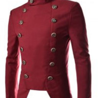 Button Designed Stand Collar Long Sleeves Blazer