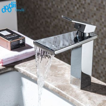 Doodii Waterfall Brass Faucet Chrome Finished Waterfall Bathroom Faucet Bathroom Basin Mixer Tap with Hot and Cold Water