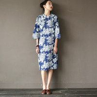 Chinese style Flower print Denim Women Knee length Dress Blue Cotton Floral Loose Summer Dress Vintage Casual Qipao Dresses A041