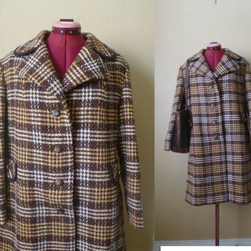 vintage brown tweed wool Trench Coat, England