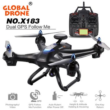 Global Drone X183 Drone Quadcopter Rc Helicopter Toy Remote Control Toy can carry with 2MP WiFi FPV HD GPS Follow Me 720P Camera