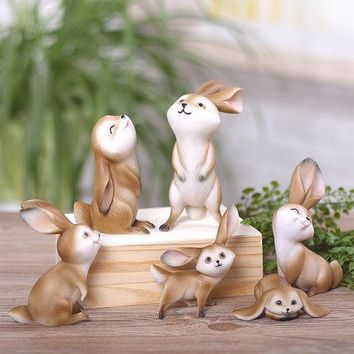 Rabbit Figurine Statues Fairy Garden Ornaments Miniatures Fairy Garden Crafts Bunny Family Series Gift Micro Landscaping Decor